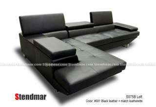 2PC NEW MODERN BLACK LEATHER SECTIONAL SOFA S975B
