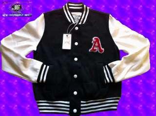 Ladies Varsity Baseball Letterman Like Jacket/Sweater Black/Cream