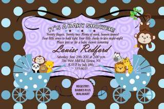 20 TWINS JUNGLE MONKEY POLKA DOT Baby Shower Invitations Invites