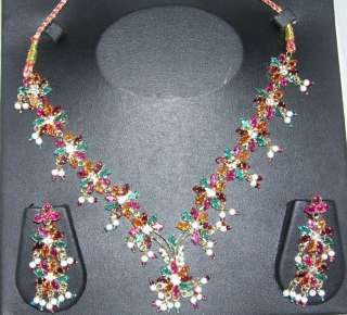 MULTI COLOR) GOLD TONE INDIAN BRIDAL BEADS CZ NECKLACE EARRINGS A22