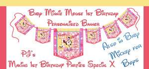 Personalised Banner Minnie/Mickey Mouse Birthday Party