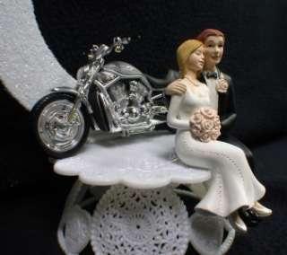 Server Book Wedding Cake Topper w/ HARLEY Davidson Motorcycle