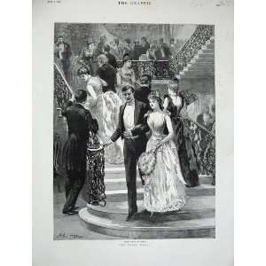 1890 Hopkins Fine Art Man Woman Romance Stairs House Home