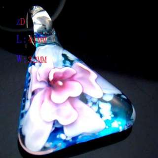 Multi Colors Murano Lampwork Glass Triangle Flower Pendant Necklace