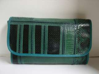 Vintage Carlos Falchi Green Python/Lizard Clutch/Bag