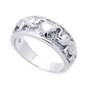 Sterling Silver Elephant & Heart Band Ring Size 5 Jewelry