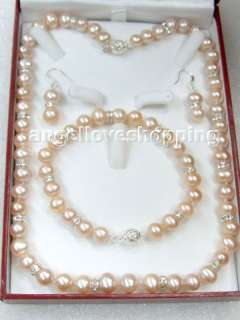 9mm variation color freshwater pearl necklace bracelet earring ss925