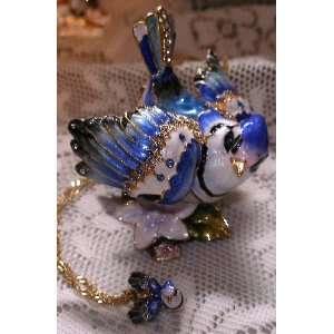 Bejeweled Blue Jay Bird Enamel & Swarovski Crystal Hinged