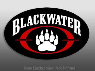 Dark Oval BLACKWATER Paw Logo Window Decal Sticker  ops
