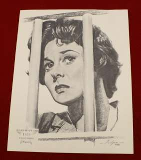 Volpe Charcoal Portrait Print Picture Susan Haywood 1958 Academy Award