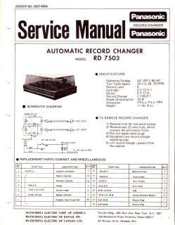 PANASONIC ORIGINAL Service Manual RD 7503 FREE USA SHIPPING