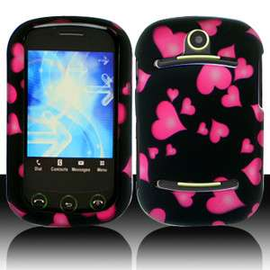 Pantech Pursuit II P6010 Pink Hearts Black Hard Case Phone Cover