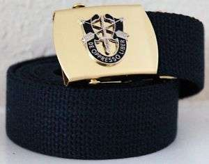 US Army Special Forces Blue Belt & Brass Buckle
