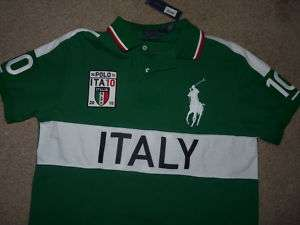 polo ralph Lauren Men Shirt ITALY Flag Big Pony L AUTH 874596325874