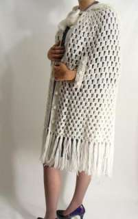 vintage 70 CREAM WHITE CROCHET Hooded Shawl Cape Poncho