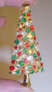 STUNNING GOLD CHRISTMAS TREE PIN NEW MINT with SWAROVSKI CRYSTALS