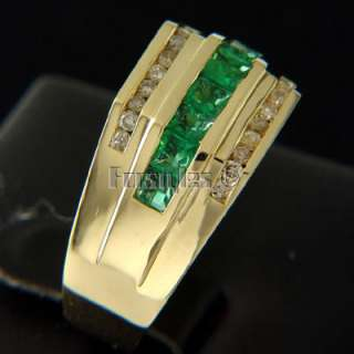 Natural Emerald Diamonds 14k Solid Gold Ring r00045