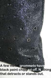 CK Calvin Klein Black SHIMMERY LEATHER Crossbody Purse Shoulder Bag