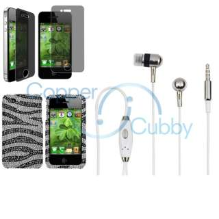 Black Zebra Bling Diamond Case+Headset+Privacy SP For iPhone 4 s 4s 4G