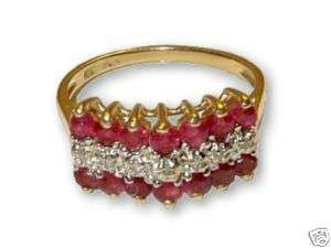 10K YELLOW GOLD RUBY AND DIAMOND PYRAMID RING