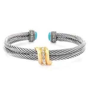 Cable Cuff Bracelet with Simulated Turquoise West Coast Jewelry
