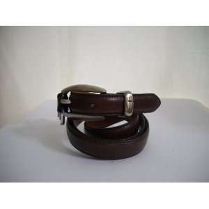 Brown Leather Christian Belt with Cross Symbol (M)