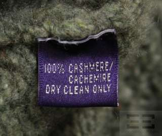 Ralph Lauren Purple Label Green Cashmere Cable Knit Turtleneck Sweater
