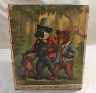 Antique Victorian Childrens Toys 3 Wooden Fairy Tale Boxes