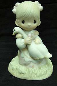 Precious Moments God is Love Figurine Girl & Goose 1980 |