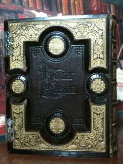 ANTIQUE FAMILY HOLY BIBLE CLASP UNMARKED LEATHER KING JAMES APOCRYPHA