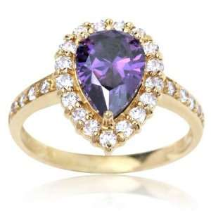 10k Yellow Gold and Pear Cut Purple Cubic Zirconia Debutante Ring 7.5