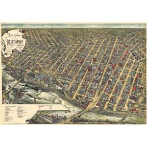 1891 Panoramic View of Minneapolis, MN by Frank Pezolt: Home & Kitchen