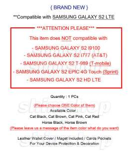 Samsung Galaxy S 2 II Skyrocket AT&T I727 Wallet Leather Case Cover