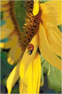 Ladybug on a Sunflower Counted Cross Stitch Pattern