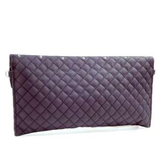 Dasein rhinestone studded quilted clutch/ evening bag   purple