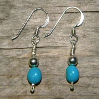 Silver Sleeping Beauty Turquoise Handcrafted Earrings