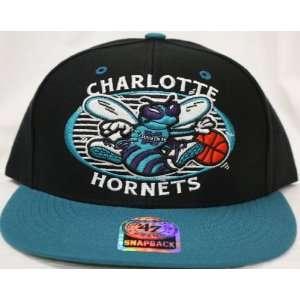 Charlotte Hornets Snapback Retro Logo Black / Teal Two Tone Adjustable
