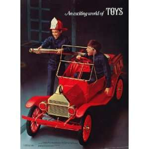 1969 Print Toy Ad Model T Red Fire Engine Gas Engine