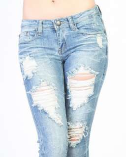 MOGAN Heavy DESTROYED SKINNY JEANS Sexy Low rise Ripped Straight DENIM