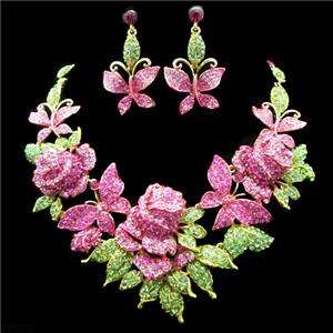 Rose Flower Pink Swarovski Crystal Earring Necklace Set