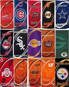 NBA, NCAA, NFL MLB Assorted Team Beach/Bath Sport Towel
