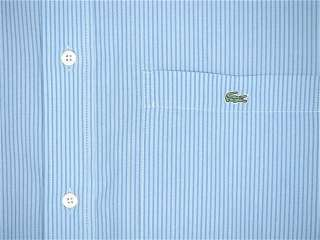 LACOSTE SHIRT MENS LONG SLEEVE CASUAL DRESS XL (EURO 44) BLUE STRIPE