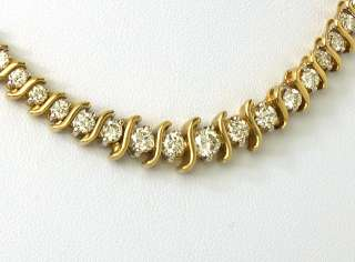 STUNNING 14K GOLD & 5 CTS DIAMONDS LADIES TENNIS STYLE NECKLACE