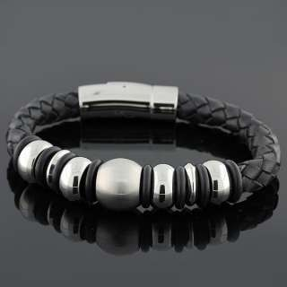 Stainless Steel and Black Leather Magnetic Clasp Unisex Bracelet
