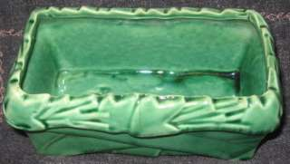 Vintage McCoy Pottery USA Green Box Leaf Planter Art Deco Very Good