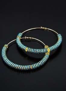 POParazzi Gold Hoop w/Turquoise rhinestone rings New