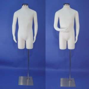 New White Male Mannequin Dress Form with Flexible Arms