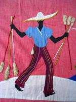 Vtg RARE BLACK AMERICANA ART SKIRT HAND EMBROIDERED X L