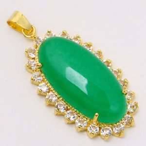 15   30mm Green Jade Gemstone Rhinestone Oval Pendant [1piece WITH