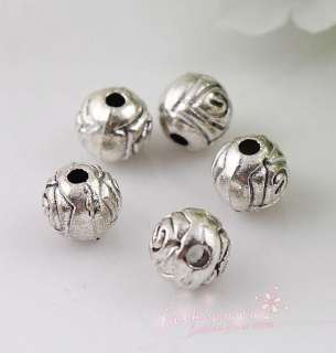 200pc Old Silver Plated Flower round loose beads 6MM1